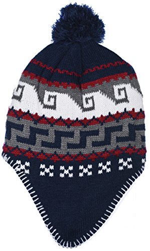 Polar Wear Boys Micro-Fleece Lined Knit Hat with Ear Flaps & Pom Pom Top (B7C1696 Navy Red) -