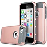 iPhone 5C Case, MCUK 2 In 1 High Impact Hybrid with Soft TPU and Hard PC Scratch-Resistant and Shock-Absorption Protective Case for Apple iPhone 5C (Rose Gold +Grey)