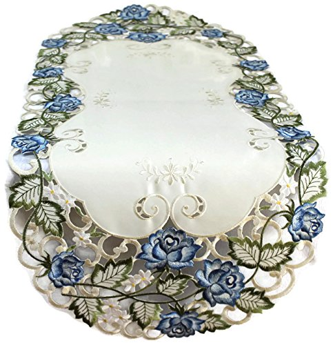 Runner Embroidered with Victorian Blue Roses on Ivory Fabric, Size 54 x 15 inches ()