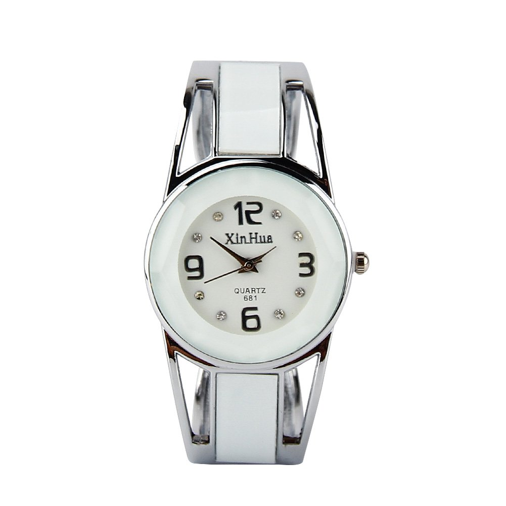 ELEOPTION Women's Bangle Watch Bracelet Design Quartz Watch with Rhinestone Round Dial Stainless Steel Band Wrist Watches Free Women's Watch Box (XINHUA-White)