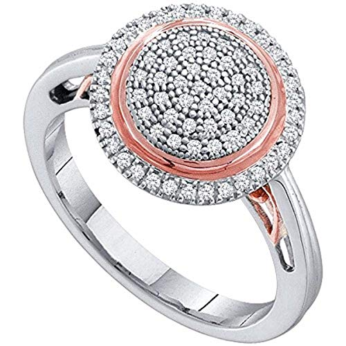 (Womens Round Pave-set Diamond Concentric Circle Cluster Ring 1/4-Carat tw, in 10K White and Rose Gold from Roy Rose)