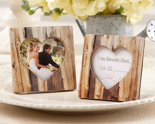 Rustic Romance Faux-Wood Heart Place Card Holder Photo Frame [SET OF (Wood Place Card Frame)