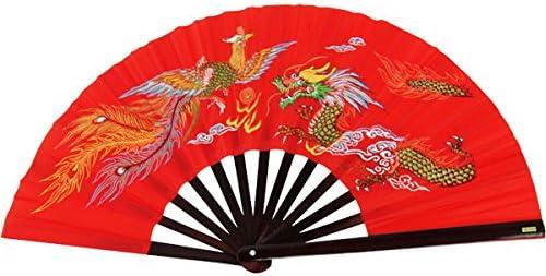 BladesUSA Bamboo Kung Fu Fighting Fan Dragon And Phoenix 2504 red