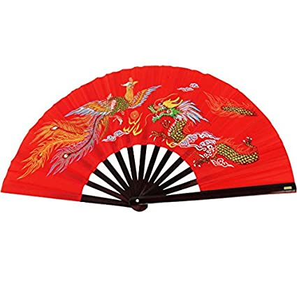 Bamboo Kung Fu Fighting Fan Dragon And Phoenix (red)