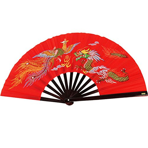 Bamboo-Kung-Fu-Fighting-Fan-Dragon-And-Phoenix-red