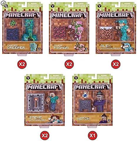 Minecraft – Surtido 9 Figuras [Creeper Cargado + Zombie Cerdo + Alex con Armadura de Diamantes + Steve con Wagonnet + Brujo]: Amazon.es: Juguetes y juegos