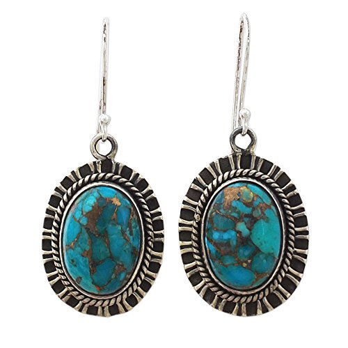 - NOVICA Reconstituted Turquoise .925 Sterling Silver Dangle Earrings 'Phenomenal Blue'