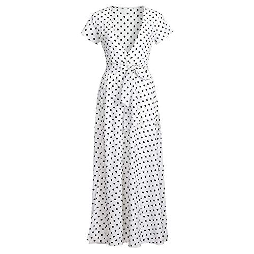 Cuello Dress Playa Cóctel Bohemio V Kinlene Vestido Falda Mujer Corta Escote Elegante Casual Largos Blanco Lunares Manga Fiesta 8I8vx1wqC