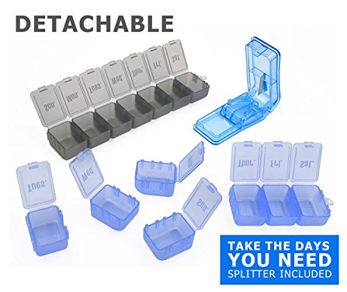Motech Detachable 2 Week 14 Day Pill Organizer Pack   Pill Splitter  Portable 7 Day 14 Day Set With Days Of The Week For Vitamins Fish Oil Supplements Prescription Medication