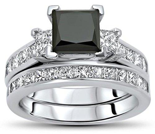 2.75 Ct Black 3 Stone Princess Cut Diamond Engagement Ring Bridal Set 10k White Gold