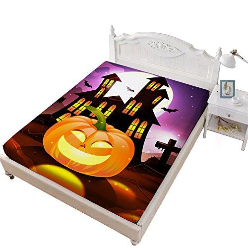 VITALE Bedding Fitted Sheet Queen Size, Halloween Printed Queen Size Sheet, Cartoon Pumpkin Church Printed 1 Piece Queen Size Deep Pocket Fitted Sheet Girl's Bedding Decor -