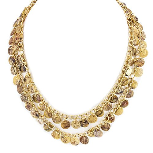 LookLove Womens Jewelry Double Strand Genuine Shell Necklace 16