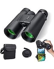 Prismáticos 10x42-Binoculares Profesionales,HD compactos con Soporte para teléfono Inteligente para observación de Aves, Camping-BAK4 Prisma Lente FMC con Correa para el Cuello