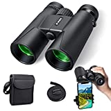 Binoculars for Adults, 10×42 Compact HD Professional Binoculars with Smart Phone Mount for Bird Watching, Camping, Hiking-BAK4 Prism FMC Lens with Neck Strap/Carrying Bag (Black)