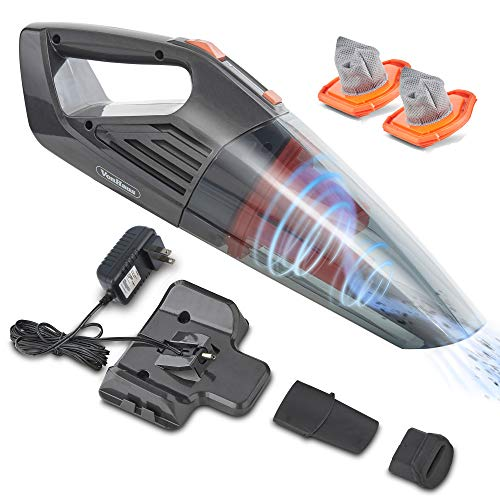 (VonHaus Cordless Handheld Vacuum Cleaner with 6 KPA Suction, Rechargeable 14.8V Lithium Battery, Wet and Dry Cleaner Includes 2X Filters, Accessories for Home, Car and Pet Cleaning)