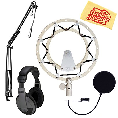 - Blue Radius II Shock Mount for Yeti and Yeti Pro Microphones - Silver Bundle with Pop Filter, Boom Arm, Headphones, and Austin Bazaar Polishing Cloth