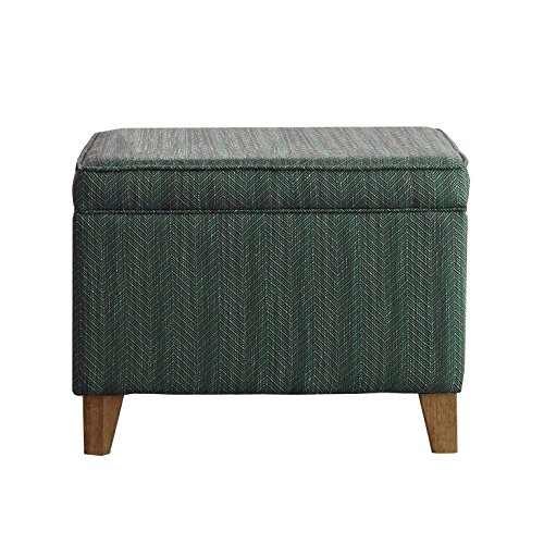 HomePop Upholstered Storage Ottoman with Hinged Lid, Teal