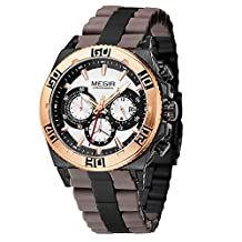 Fanmis Men's Outdoor Brown Silicone Band Chronograph Calendar Waterproof Quartz Wrist Watches Gold