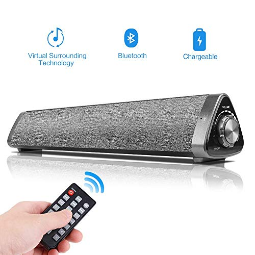 16inch Sound Bars for TV,COSOOS 10W Soundbar Portable Wireless Bluetooth 5.0 Speaker for PC,Phone,Tablet,MacBook,Built-in 2000mAh Battery,Remote Control,Microphone,Support Aux,RCA,USB-DAC,TF