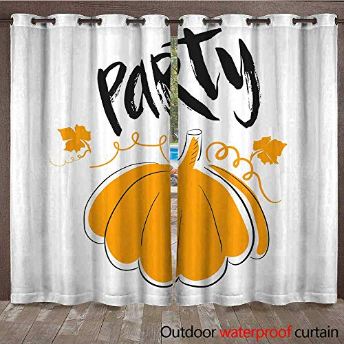 Home Patio Outdoor Curtain Halloween Party Simple Card with Orange Pumpkin and Lettering by Hand Quote on White Background W108 x -