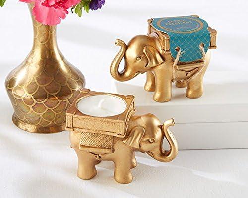 25 Lucky Elephant Golden Tealight Holder
