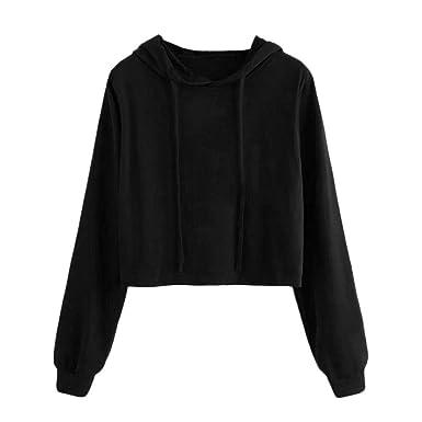 Mujer Camisas Lonshell Manga Larga Hoodie Camisa de Entrenamiento Encapuchado Sudaderas con Capucha Corto Sudadera Suéter Liso Tops Blusa: Amazon.es: Ropa y ...