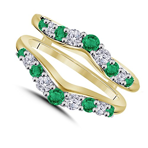 - 1/2 Ct Cubic Zirconia Diamond & Green Emerald Ring Solitaire Enhancer Guard Wrap in 14K Yellow Gold Over Sterling Silver Women Jewelry Plated