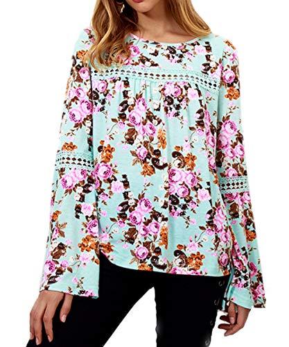 T Donna Lunga Autunno Rotondo Stampa shirt Maglietta Verde A Cucitura Manica Collo Top Bluse Maglie Casual Primavera Moda Camicie Pizzo Cime Tzd154qTw
