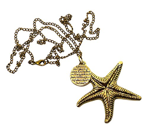 Bijoux De Ja Antique Bronze Starfish with Circle Charm Pendant Chain Necklace 32 - Usa And Co Tiffany Outlet