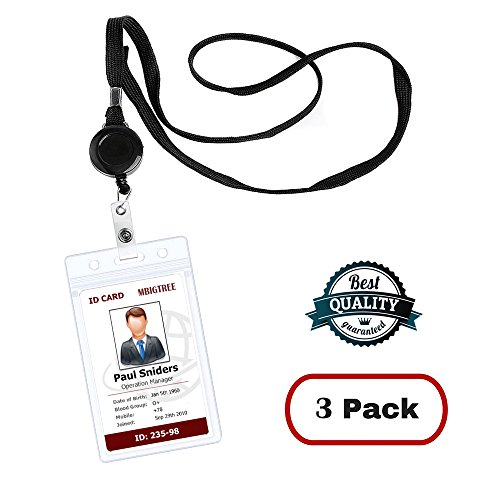 Lanyard with ID Holder Sets (Black 3 Pack) MBigtree Flat ID Lanyard with Retractable Badge Reel & Heavy Duty Clear Vertical ID Card Name Badge Holder Bus Pass Holder for (Retractable Lanyard Badge Reel)
