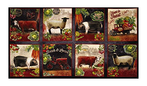 Robert Kaufman 0540352 Kaufman Down On The Farm Digital Adventure Street Panel, Animals Spice