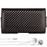 Motorola RAZR I | RAZR M | DROID RAZR HD M | Mini Case, Vegan Leather Carbon Design Durable Hip Holster, Belt Clip [090] + VG Headphones