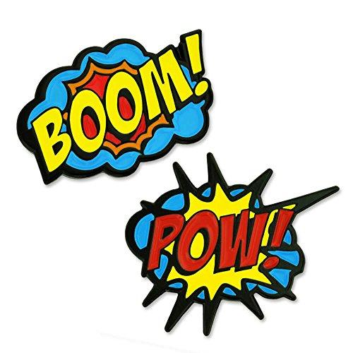 (PinMart Boom! Pow! Trendy Action Comic Book Enamel Lapel Pin Set)