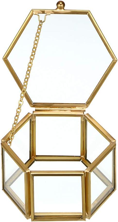 Hipiwe Glass Vintage Jewelry Box - Golden Geometric Jewelry Display Organizer Keepsake Box Case Home Decorative Box for Storage Trinket Ring Earring Chest (Small)