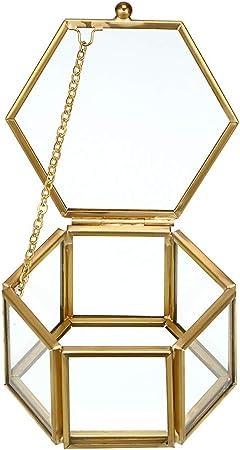 Hipiwe - Joyero de Oro con Caja de Cristal Decorativa, Caja de Cristal con diseño de Flores: Amazon.es: Hogar