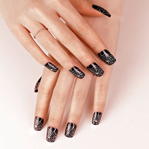 ArtPlus 24pcs Halloween Gothic Black Silver Spider Web with Crystals False Nails with Glue Full Cover Long Length Fake Nails Art -