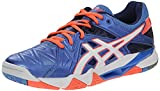 ASICS Women's Gel Cyber Sensei Volleyball Shoe, Powder Blue/White/Coral, 10.5 M US