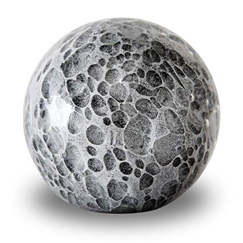 (WHW Whole House Worlds Bubble Fusion Ball Paperweight, Black, Gray and White, Hand Crafted Art Glass Orb, 3 1/4 Inches Diameter Ball, No Roll Flat Bottom (8 D)