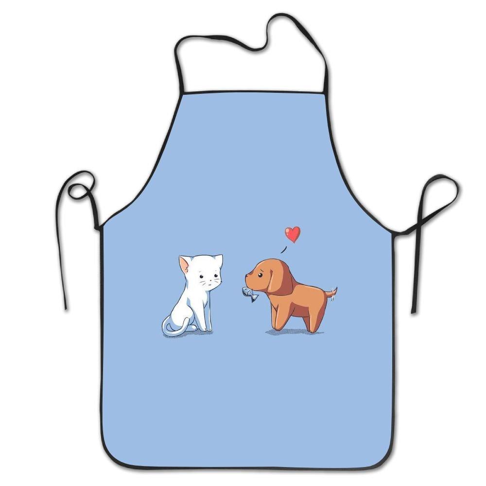 animals-love-white-cat-brown-dog-gift cuello babero Delantal ...