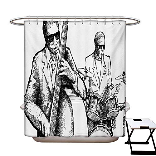Jazz Music Shower Curtain Customized Illustration of a Jazz Band Musicians Playing Drum Music Concert Performance Bathroom Accessories W72 x L84 Black White]()