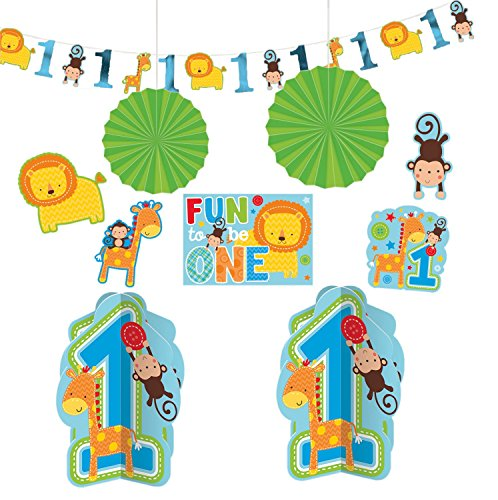 Amscan One Wild Boy 1st Birthday Room Decorating Kit, Large, Blue/Green