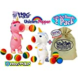 "Hog Wild Magical Mystery Pink & White Unicorn Poppers Gift Set Bundle with Exclusive ""Matty's Toy Stop"" Storage Bag - 2 Pack"