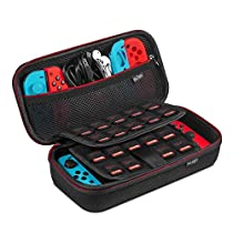 Nintendo Switch ケース-Keten 任天堂Switch セミ ハード ケース 改良型 消臭処理 防汚 耐衝撃 ニンテンドースイッチ保護カバー 収納バッグ ハンドストラップ付 ゲームカードケース(レッド・ホワイト)