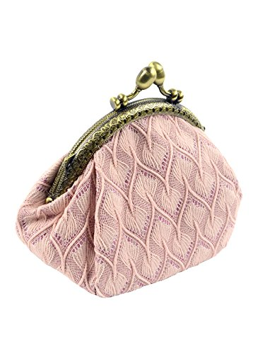 POPUCT Womens Exquisite Buckle Coin Purse Clutch Handbag, Perfect for Change Purse,Credit Cards,Cash(pink) (Change Purse Hardware)