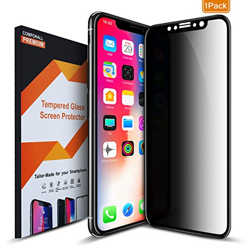 COVELL Privacy Screen Protector for iPhone X 10, Anti Spy Anti Peep Full Screen Tempered Glass Screen Protector (Premium/Bubble Free/Anti Scratch)-Black,1Pack by COVELL