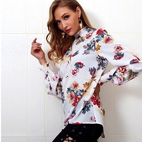 Chiffon Tops Shirt Longues Fille Manches Automne Imprim de Blanc Solike lastique T Femme Shirt Ruffle Shirts Casual Chemise Col T Pullover t Chic vx6AHnwg8q