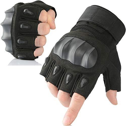AXBXCX Touch Screen Military Rubber Hard Knuckle Tactical Gloves Half Finger Hunting Cycling Motorcycle Training Army Shooting Motorbike Airsoft Paintball Gloves Black M