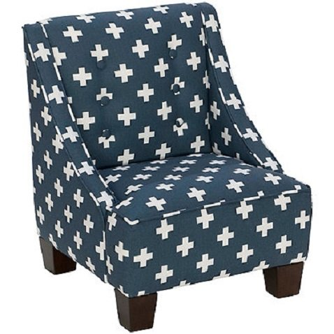 Skyline Furniture Wilson Kids Chair in Swiss Cross Navy by Skyline Furniture