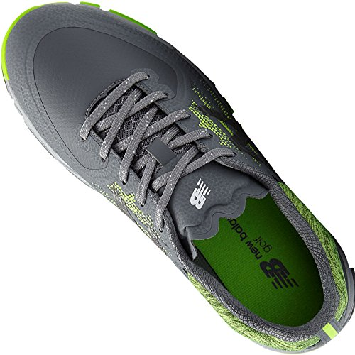 New Balance Men's Minimus Tour Waterproof Spiked Comfort Golf Shoe, Dark Grey/Green, 10 D D US