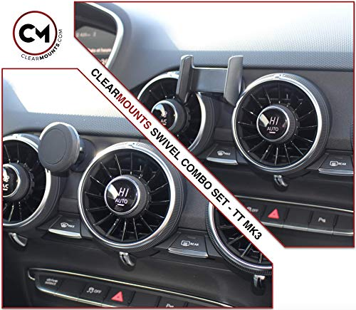 CLEARMOUNTS Audi Phone Holder - Designed for: 2015-2020 Audi TT - 360 Degree Swivel Magnetic Mounts & Cradle Mount Combo